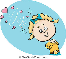Mind Waves of Love - A little cartoon girl uses mental...