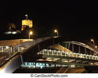 Mindaugas bridge and Gediminas Tower in Vilnius, Lithuania
