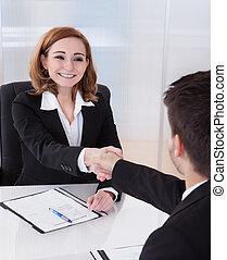 mindegyik, beszéd, más, két, businesspeople