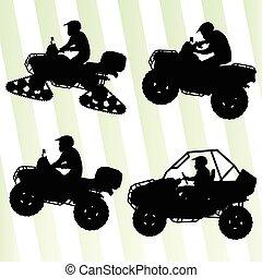 minden, bricska, terep, dűne, motorbiciklik, vektor, ábra, háttér, jármű, gyűjtés, quad, lovasok