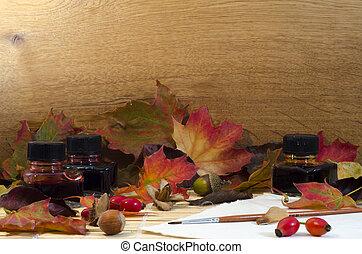 mindenfelé, dolgozat, szoba, diók, egyezség, háttér, zöld, fából való, színezett, ősz, text., tölgy, bogyók, palack, paintbrus, tinta