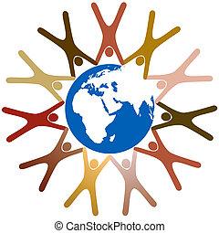 mindenfelé, emberek, jelkép, bolygó, különböző, kézbesít, földdel feltölt, karika, befolyás