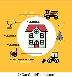 mindenfelé, szín, épület keret, két, elhallgattat, háttér, épülethomlokzat, szerkesztés, eszközök, kör alakú