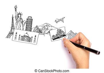 mindenfelé, utazás, whiteboard, kéz, világ, rajz