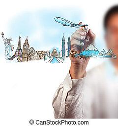 mindenfelé, utazás, whiteboard, világ, álmodik, rajz