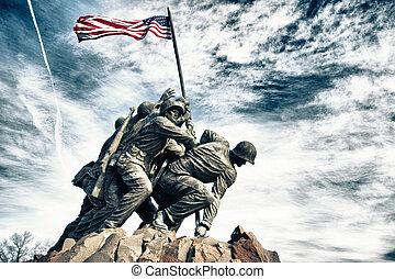 mindesmærke, marin, krig, korps