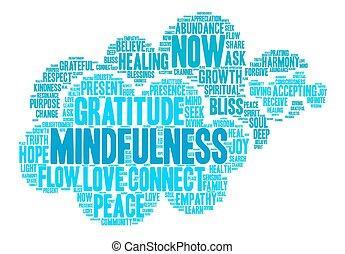 mindfulness, 単語, 雲