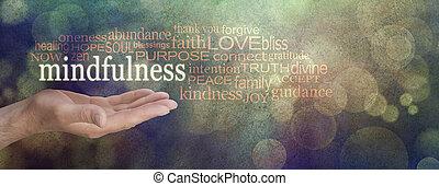 mindfulness, banne, grunge, mot, nuage