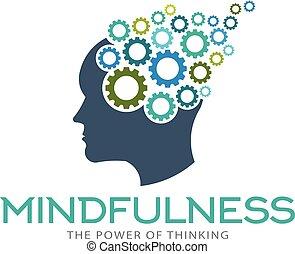 mindfulness, cerebro, imaginación, logotipo, vector,...