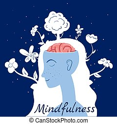 Mindfulness concept Woman in meditation. Open brain mental calm mind, releasing stress. Vector illustration isolated