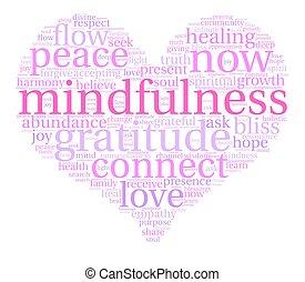 mindfulness, nuage, mot