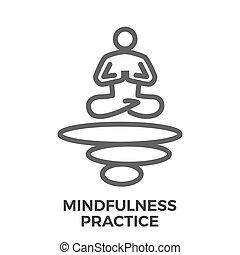 mindfulness, praktyka, cienka lina, wektor, ikona