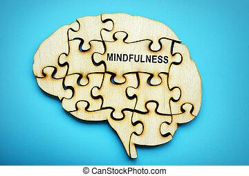 mindfulness, stuk, woord, puzzle.