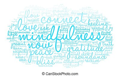 mindfulness, wolke, wort