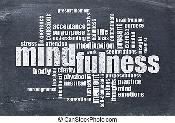 mindfulness, woord, wolk, op, bord