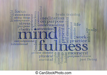 mindfulness word cloud against motion blurred landscape ...