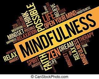 Mindfulness word cloud collage