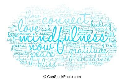 Mindfulness Word Cloud - Mindfulness word cloud on a white...