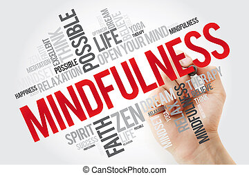 Mindfulness word cloud with marker