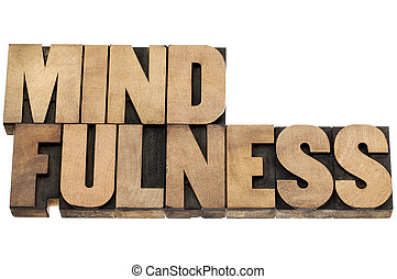 mindfulness word in wood type - mindfulness - awareness ...
