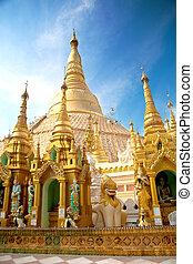 mindre, mellerst, shwedagon, omgiven, pagod, helgonskrin, hundreds, pagod, yangon, myanmar.