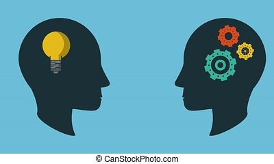 Minds working in ideas - Head silhouette with bulb and gears...