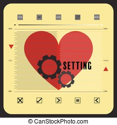 Mindset 2 - Heart shape with setting icon and measuring line...
