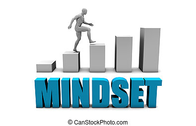 Mindset 3D Concept in Blue with Bar Chart Graph
