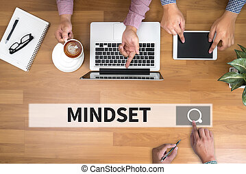 MINDSET man touch bar search and Two Businessman working at ...