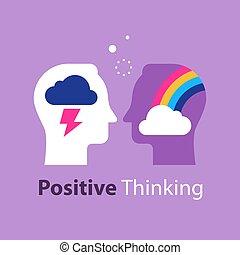 mindset, negativo, arco irirs, actitud, cabeza, malo,...
