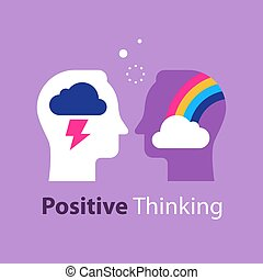 mindset, negativo, arcobaleno, atteggiamento, testa, cattivo...