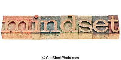 mindset - isolated word in vintage wood letterpress printing blocks