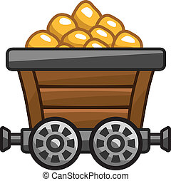 Mine cart with gold. - Mine cart with gold for game level
