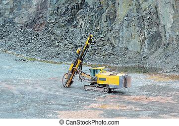 mine., driller, 鉱山, 採石場, industry.