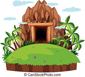 Mine entrance, on the island illustration