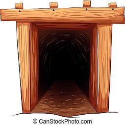 Mine entrance on white background illustration