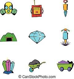 Mine equipment icons set, cartoon style