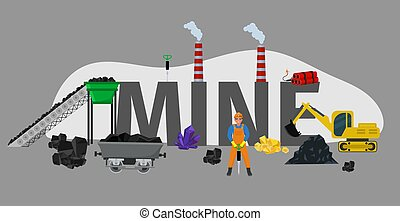 Mine font type, character coal miner mining, isolated on grey, flat vector illustration. Industrial excavator machine product gold metal gemstone.