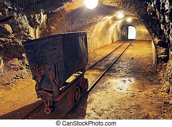 mine, guld, tunnel til underjordiske, jernbane