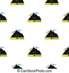 Mine icon in cartoon style isolated on white background. Mine pattern stock vector illustration.