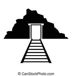 Mine icon, simple style - Mine icon. Simple illustration of ...