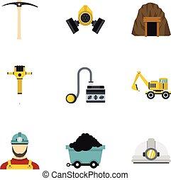 Mine icons set, flat style