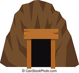 Mine in mountain icon, flat style