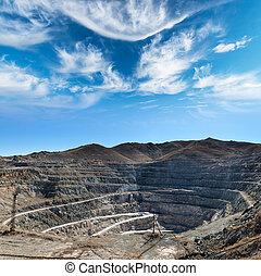 mine - Close-up of Copper Mine Open Pit Excavation