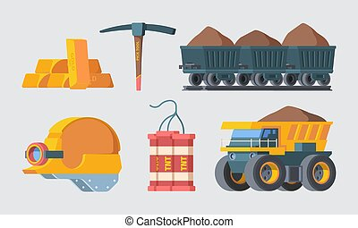 Mine quarry equipment set. Column trolleys filled with soil rock smelted gold ingots block TNT explosive charges powerful industry quarry cargo carrier filled with earth. Vector drilling.