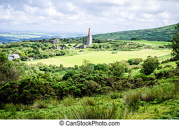 Mine ruins, Bodmin Moor in the UK. Surrounded by lovely countryside.
