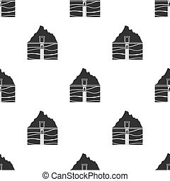 Mine shaft icon in black style isolated on white background. Mine pattern stock vector illustration.