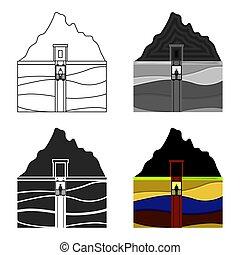 Mine shaft icon in cartoon style isolated on white background. Mine symbol stock vector illustration.
