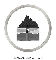 Mine shaft icon in monochrome style isolated on white background. Mine symbol stock vector illustration.