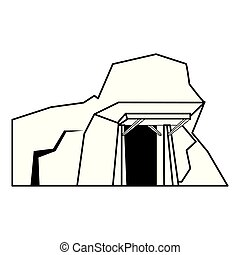 Mine with entrance scenery isolated cartoon in black and white